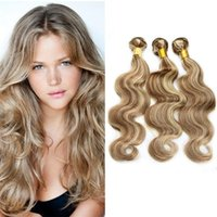 Wholesale Hair Extensions Dhl Free - 8A Peruvian Human Hair Weaves Body Wave Piano Color #8 613 3Pcs lot Mixed Brown Blonde Virgin Hair Extensions Dhl Free