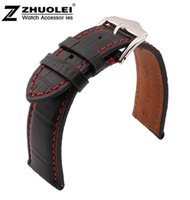 Wholesale Watch Leather Strap 19mm - Wholesale- 18mm 19mm 20mm 21mm 22mm 23mm 24mm New Black Genuine Leather Watchband Watch Band Strap Bracelet With Red thread