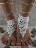 Wholesale Heel Anklets - Black Crochet Barefoot Sandals, Nude shoes, Foot jewelry, Wedding, Victorian Lace, Sexy, Yoga, Anklet , Bellydance, Steampunk, Beach Pool