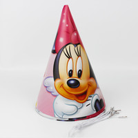 Wholesale Party Supplies Child Birthday - Wholesale-12pcs Happy Birthday Party Decoration Cute Child Minnie Mouse Cartoon Pattern Birthday Paper Hat Event Kids Party Supplies