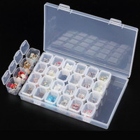 Wholesale Display Case Nail Art - Clear Plastic 28 Slots Empty Storage Box Nail Art Rhinestone Tools Jewelry Beads Display Storage Box Case Organizer Holder