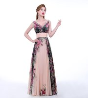 Wholesale Simple Floral Prom Dresses - Floral Print Long Evening Dress 2017 V Neck Pattern Elegant Prom Gowns Chiffon Pleated Formal Evening Dresses