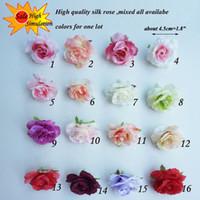 Wholesale Silk Purple Rose Heads - 100pcs 4.5cm Brand Artificial Silk Flower Mini Rose Heads for Wedding Decor DIY Decorative Flowers& Wreaths fleurs artificiel