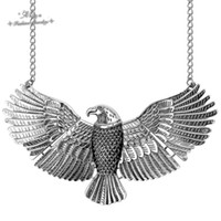 Wholesale Vintage Eagle - Wholesale-bijoux 2016 The New Hot Sale Fashion brand jewelry metal Vintage Gold silver Eagle wings boho Necklaces for women Free Shipping