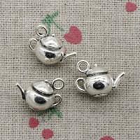 Wholesale Teapot Necklaces - 32pcs Charms 3D teapot 18*13*10mm Antique Silver Pendant Zinc Alloy Jewelry DIY Hand Made Bracelet Necklace Fitting