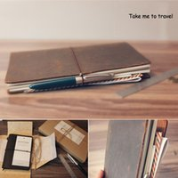 Wholesale Leather Notebooks For Men - Wholesale- 100% Genuine Leather Notebook Vintage Diary Book Travel Journal Christmas Birthday Gift for Men Women