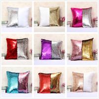 Wholesale Cushioned Car Covers - Fashion gift Magic Glamour Bright Pillow 2 Color Sequin Mermaid Pillow Covers Reversible Cushion Cover Home Sofa Car-styling Decor CASE