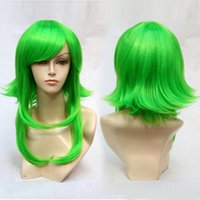 BurHair Green 2017 New Style Medium Synthetic Cosplay Wigs Wave Pure Color Hair Perucas para um pacote
