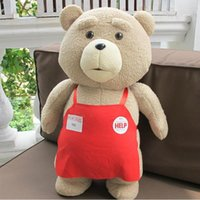Wholesale White Apron Teddy - 2016 New Teddy Bear Ted 2 Plush Toys In Apron bowknot Large Size Big Huge 48CM Soft Stuffed Animals Ted Bear Plush Dolls