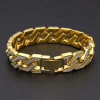 Wholesale geometric bracelets - Retail Gold Silver HipHop geometric bracelet and bangles armlet upper arm cuff women men punk rock crystal bangle NE795