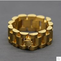 Wholesale Toning Band - 24K gold plated Mens ring 10mm Luxury Link Band Ring Stainless Steel Gold Tone Hiphop Watchband Style President Crown Ring Size 8 10 12