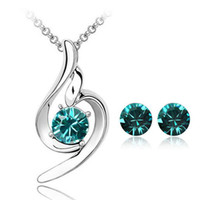 Wholesale price for love - Promotion Price White Gold Color Cute Love Crystal Necklace Earrings Jewelry Sets for Women Cheap Wedding Jewelry Nice Gift