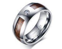 Wholesale Tungsten Rings Real Diamonds - 8mm Tungsten Carbide Wedding Ring with real wood inlay and with one CZ diamond inlay for men and women Classical style