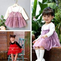 Wholesale Korean Long Skirt Wholesale - 2017 New Arrival Kids Girls Dresses Child Girl Korean Style Cate Dress Kids Princess Skirt Children's Autumn Long Sleeve Dresses 5 Pcs Lot B