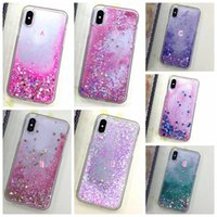 Heart Love Bling Liquid Case для Iphone X IphoneX 5.8inch Star Glitter Hard Plastic + Soft TPU Colorful Clear Quicksand Moving Sparkle Cover