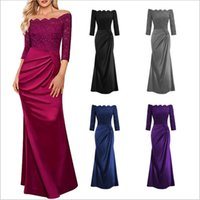 Wholesale Strapless Dinner Wedding Dresses - Dresses Women's Party Prom Gown Dress Formal Lace Bridesmaid Dress Wedding Dinner Dress Evening Elegant Dresses A Line Maxi Dresses B2765