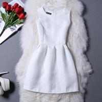 beyaz pembe elbise kısa toptan satış-Kırmızı Pembe Siyah Beyaz Elbise Kadınlar Katı Elbise Bayanlar Parti Akşam Zarif Casual Mini Kolsuz Kısa Bir Çizgi Artı Boyutu Elbiseler