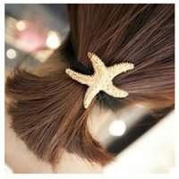 Wholesale Hair Bands Holder Sell - 50pcs Hot sell ponytail holders Starfish rubber band for girl Five-pointed star Hair Jewelry free shipping