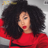 Wholesale Indian Curly Afro Wig - JYZ Kinky Curly Full Lace Wig Mongolian Full Lace Human Hair Afro Curly Wigs For Black Women Glueless Lace Front Wigs
