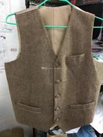 Wholesale Leather Suit Vest - Brown Tweed Vest Vintage Rustic Wedding Vest Men Leather Effect Buttons Winter Slim Fit Groom Vests Unique Mens Suit Vest Prom Waistcoat Men