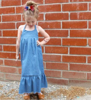 Wholesale Kids Bow Jeans - INS baby girl jeans suspender dress litter girls dew shoulder lace-up bows falbala princesss long dress kids backless denim long dress T0384