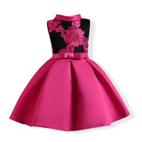 Wholesale childrens sashes - 2017 childrens hot pink princess dresses kids party clothes baby girls embroidery dress toddler wedding dress for 100-150cm