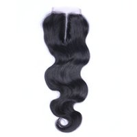 Wholesale grade 6a hair extensions - Brazilian Body Wave Middle Part Lace Top Closure Grade 6A Hair 4*4 Bleached Knots Top Closures Dyeable Human Hair Extensions