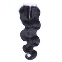 6a sınıf saç toptan satış-Brezilyalı Vücut Dalga Orta Kısmı Dantel Üst Kapatma Sınıf 6A Saç 4 * 4 Ağartılmış Knot Üst Kapaklar Boyanabilir İnsan Saç Uzantıları