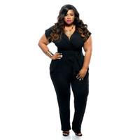 Wholesale Wholesale Lady Rompers - Wholesale- Plus Size Women Jumpsuits Rompers Fashion Sexy Ladies Big Size Short Sleeve V Neck Jumpsuits 2016 Summer Hot Sale Jumpsuits Long