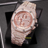 Wholesale White Ceramic Chronograph - 2017 Iced Out Luxury Full DIAMONDs Rose Gold Watch Men Stainless Steel Jananese Quartz Chronograph Watches Diamond WristWatches