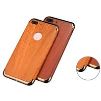 Wholesale Wood Grain Iphone Covers - Wood Wooden Grain Case For Iphone 7 6 6s Plus Electroplated Plating Ring Stand Cover 3in1 Cellphone Protector With OPPBAG
