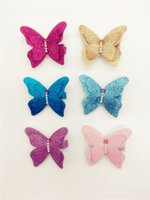 Wholesale Kid Butterfly Barrettes - Wholesale 20pcs 6C Cute Solid Glitter Butterfly Baby Girls Barrettes Glitter Solidl Girls Hairpin Kids Hair Accessories