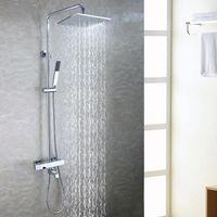 Wholesale Tub Shower Faucet Rain - Bath Tub Exposed Shower Faucet Set 10 Inch Bathroom Rain Shower Head Brass Hand Shower Holder Thermostatic Bath Mixer Valve 2101
