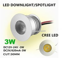 Wholesale Cooling Showcase - 9pcs Cree chip 3W 3V 12V Round Mini LED Kitchen Under Cabinet Lamp LED Recessed Ceiling cut 30mmn Spot light for gallery Display Showcase