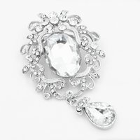 Big Waterdrop em forma de cristais de vidro Bridal Bouquet Broche Hot vendendo Vintage Silver Alloy Fantástico Wedding Jewelry Pins