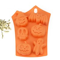 Wholesale Silicone Mold Halloween - Halloween Baking Moulds DIY Chocolate Cake Pudding Silicone Mold Orange Soft Non Stick Mould Easy To Clean 3 35jc B R