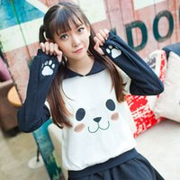 когтевые хомуты оптовых-Wholesale- Sailor Collar Anime Pullover Women Kawaii Cute Hoodies Harajuku Panda Face Claw Sweatshirt Japan Girls Fashion Autumn clothes