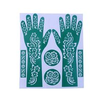 Wholesale Tattoo Color Arms - Wholesale- 1 Set India Henna Temporary Tattoo Stencils For Hand Leg Arm Feet Body Art Decal 23*27cm 2017 New Random Color