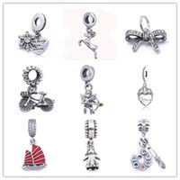 Wholesale Charms For Bracelets Bike - 925 Sterling Silver Bowknot Bike Cupid Love Charm Beads Fit for European Pandora Style charm Bracelet
