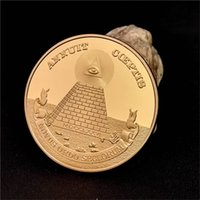 Wholesale Africa Box - Masonic Freemasonry Symbol All-seeing Eyes Pyramid 24K Gold Plated Coin Token