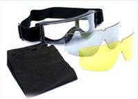 airsoft schutzbrillenlinse großhandel-Airsoft x800 Tactical Radfahren Brillen Sonnenbrillen Krieg Spiele Goggles Winddicht Spiegel GX1000 Schwarz 3 Objektiv