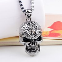 Wholesale Skull Necklace Men - Wholesale Stainless Steel Face Skull Pendent For Man Old Retro Vintage Punk Necklace Charm Pendant
