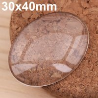 Wholesale Jewelry Glass Cabochons - 20x Oval 30x40mm Flat Back clear Crystal glass Cabochon Top quality clear cabochons for jewelry making