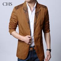 Wholesale Leisure Slim Plaid Suit - Wholesale- 2014 new brand casual men plus size suit jacket plaid blazer mens Slim fit leisure suit blazer brown khaki black M-XXXL D2284