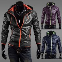 Wholesale Thin Leather Jacket Xxl - Hot jackets mens brand Slim Fit Zipper Thin Jackets Stand-up Faux Leather Fashion Coats MLXL XXL