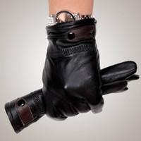 Wholesale Genuine Leather Gloves Men - Wholesale- Mens fashion winter warm thicken leather gloves, Genuine leather sheepskin gloves, GR205