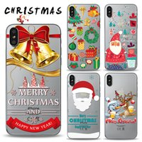 Wholesale White Mixed Christmas Tree - Merry Christmas Tree Santa Claus Gift Happy Phone Cases Back Cover for iPhone X 6plus 7 8Plus Samsung S8 S7Edge Can Mix Model