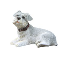 Wholesale Painted Statue - Gray Schnauzer Dog Statue - Design Lying Puppy Top Collectible Painted Figurine Schnauzer Dog Sculptures for sale