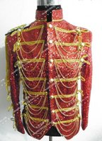 Wholesale Long Red Costume Coat - new singer dancer jacket coat Hot-selling fashion royal male costume royal for party performance show nightclub prom groom dress blazer
