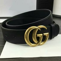 Wholesale Women Fashion Gold Belt - 2017 New Famous Brand Men Women Leather Belt Gold Buckle Women Genuine Leather Designer Belts Size 100-125cm